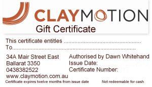 Gift certificate ClayMotion Ballarat Victoria