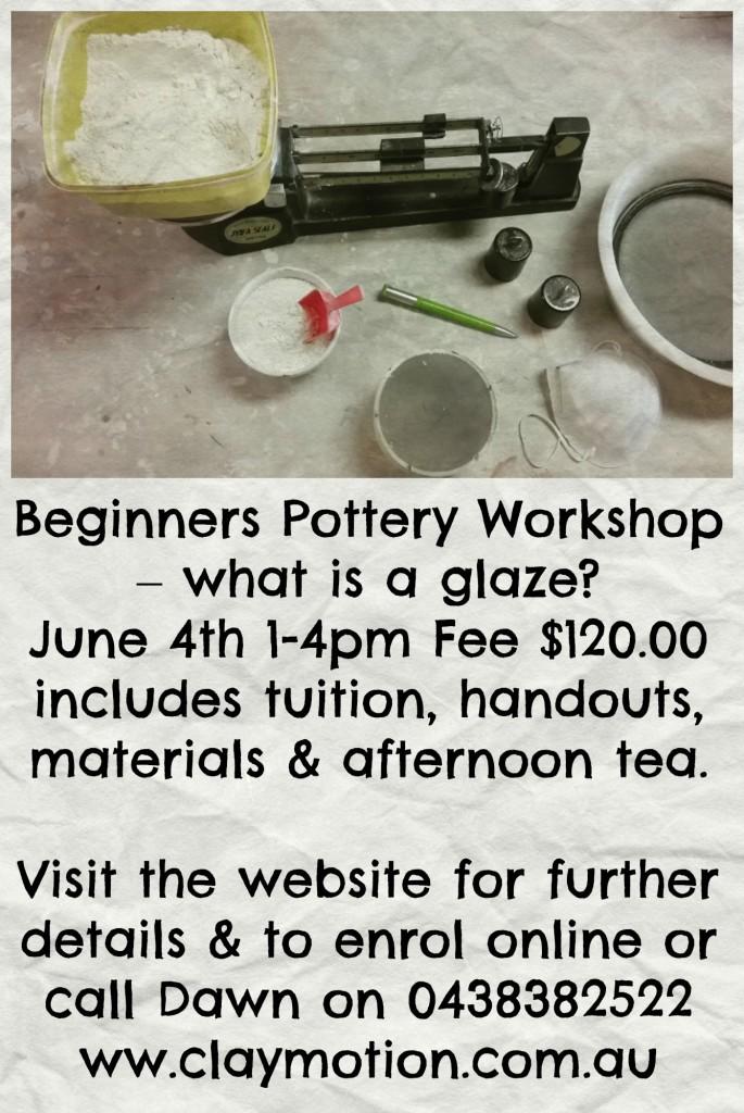 ClayMotion glaze workshop Ballarat