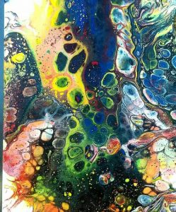 acrylic pouring school holiday workshop at ClayMotion, Ballarat, Victoria
