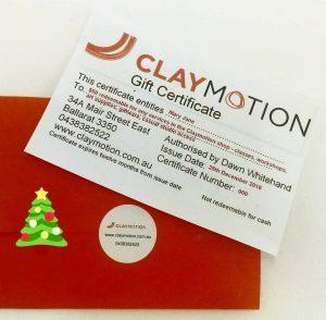 Gift Certificates Claymotion Ballarat Victoria