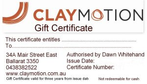 ClayMotion gift certificate for pottery art classes Ballarat Victoria